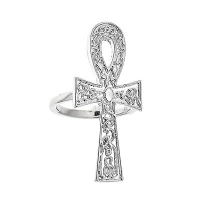 Etched Ankh Ring .925 Solid Sterling Silver Ring (7.5 grams)