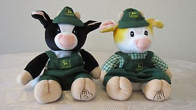 """Mary's Moo Moos Johns Deere Plush Cows """"Patty & Chip"""" **MINT CONDITION**"""