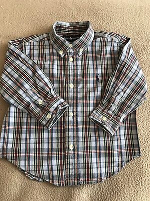 Boys Blue Multi Checked Long Sleeved Shirt By Ralph Lauren Size 24 Months