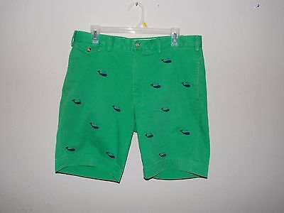 Polo Ralph Lauren Emerald Green Casual Shorts  With Whale Print (Waist 34)