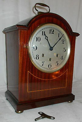 Quality BRACKET Clock W/ Westminster Chime LARGE Silvered DIAL Inlaid CASE