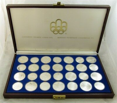 1976 Sterling Silver $5 & $10 Canadian Olympic 28-Coin Set in Case - ASW 30.2