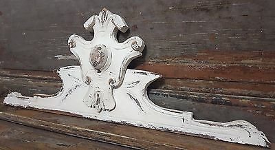 Shabby Carved Wood Pediment Antique French Panelling Architectural Salvage Crest