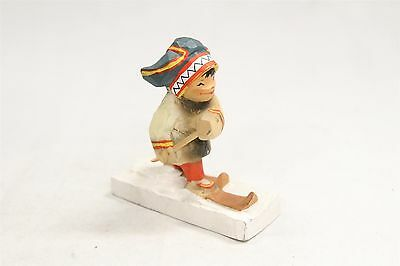 Henning Wood Carving Little Girl Troll Doll Skiing Norway