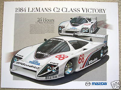 Mazda Official Le Mans 24 Hours Racecar Class Victory Poster 1984