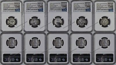 2017 S NP 5 Coin Quarter Set 225th Anniversary Enhanced NGC SP70 First Release