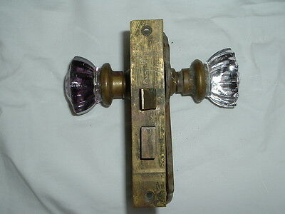Vintage Russwin Glass Door Knob Set With Back Plates & Latch Assembly