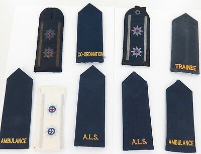 Lot Vintage Nsw Ambulance Epaulettes. Various Ranks Over Various Years.