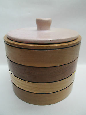 Lovely Cylinder Wooden Container & Soapstone Lid Ash Cherry Tulipwood
