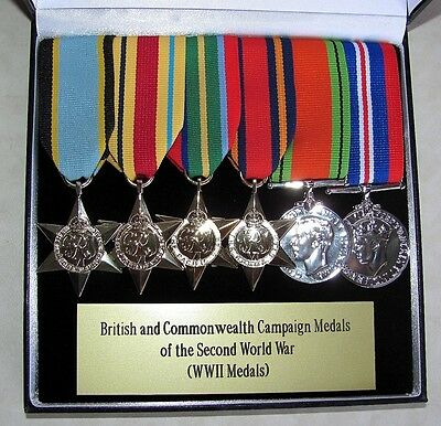 Canadian - British & Commonwealth Campaign Medals Full Size Lot Cased WWII WW2