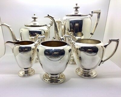 Reed and Barton Pointed Antique Sterling 5 Piece Tea Set
