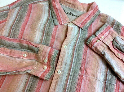 Caribbean Shirt PEACH M/C STRIPED Linen LONG SLEEVE Button Front Men's XL __632