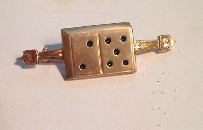 Vintage Craps Shooter Player Dice Roller Player Lucky 7 Brooch pin