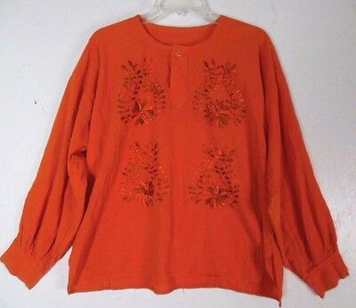 """Mexican Orange Embroidered Cotton Long Sleeve Women's Top ..XL .. Bust48 """""""