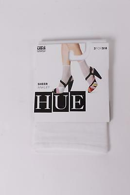 $7 HUE Women's Sheer Anklet Socks One Size White NEW