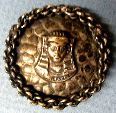 RARE  Antique CUT STEEL METAL BUTTON KING TUT PHARAOH Egyptian art