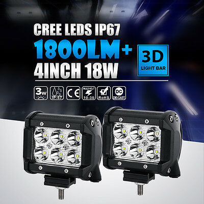 "2X 4""INCH 18W LED LIGHT BAR CREE SPOT OFFROAD Polaris RZR XP1K RZR1000 BUS TRUCK"