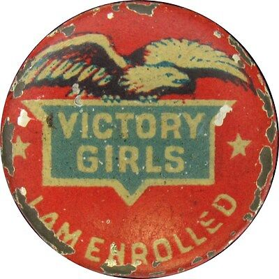 1940s WWII Button Pin - Victory Girls I Am Enrolled