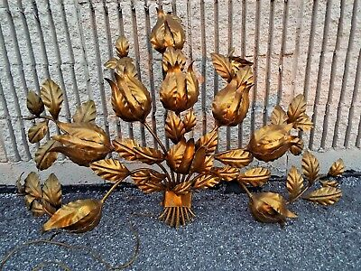 Vintage Hollywood Regency Gilt Tole Italian 26 X 48 Wall sconce 9 Greyhound $59