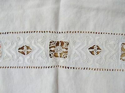 Antique Vtg ITALIAN NEEDLE LACE Reticella Lace Embroidered LINEN Table Runner