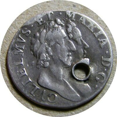 elf  Great Britain 3 Pence 1689 8/8  Silver William and Mary