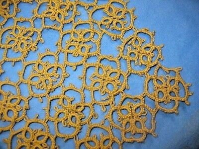 """Vintage / Antique Tatted Lace 14"""" Square Salvaged Piece Mustard Gold Excellent"""