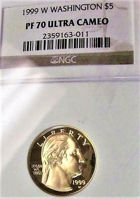 1999-W Gold $5 Eagle NGC PF 70 Ultra Cameo Proof Washington Commemorative Coin A