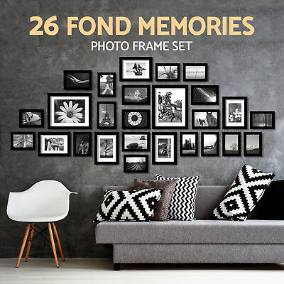 26 pcs Picture Photo Frame Set Wall Black Decor Art Gift Present