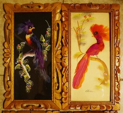 4 Vintage Mexican Feather Art Folk Art Paintings  in  Hand Carved Wooden Frames