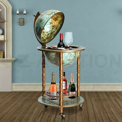 Antique Globe Bar Cabinet Deluxe Handcrafted Globe Wine Rack Mini Drinks Trolley