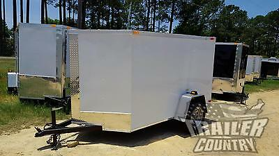 NEW 2017 5 X 8 5X8 V-Nosed Enclosed Cargo Motorcycle Trailer w/ Rear Swing Door