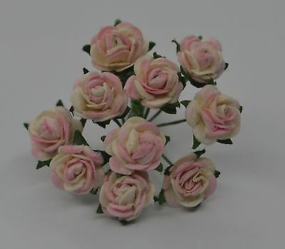 50 BLUSH BABY PINK Rose (1cm) Mulberry Paper Flowers wedding & miniature