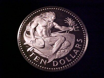Barbados $10 Dollars Silver Proof Crown 1973 1.12 Ounces Neptune W/ Mahi Nice