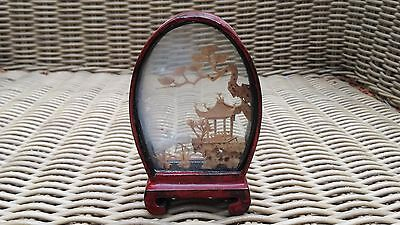 Vintage Chinese Cork Diorama Carving in Glass Lacquered Wood Case & Stork Bird