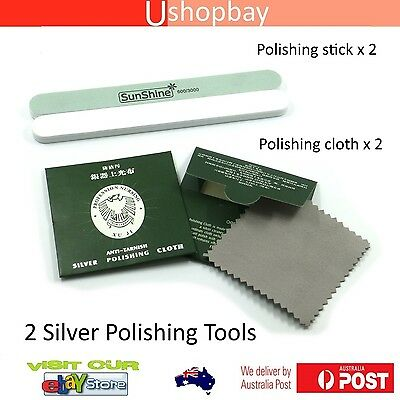 Silver Polishing Cloth & Stick x 2 Jewellery Cleaning Anti-Tarnish Clean Tool