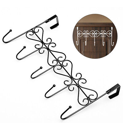 1PC 5 Hooks Towel Hat Coat Clothes Door Wall Hanger Over Door Bathroom Organizer