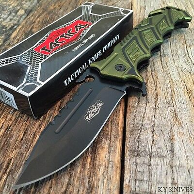 """RAZOR TACTICAL Rescue 8.5"""" Spring Assisted Open BOWIE TACTICAL Pocket Knife GN."""