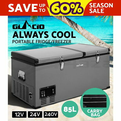 Glacio 85L Portable Fridge Freezer Cooler Stainless Steel Camping Caravan Boat