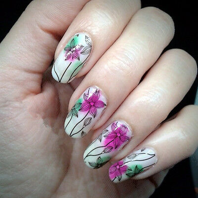 2X Nail Art Water Decals Flower Pattern Transfer Stickers  Tips BPY15