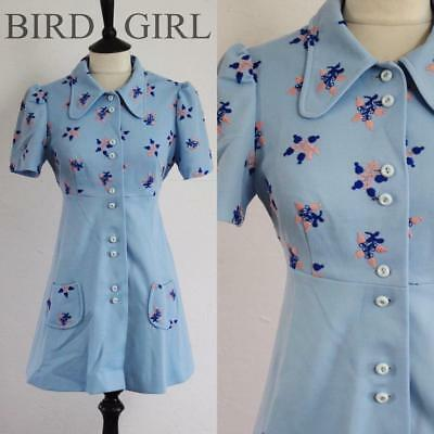 Folk Flower Embroidered 1960S Vintage Blue Puffed Sleeve Twiggy Mini Dress 10-12
