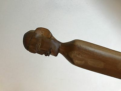 wood carved folk art w head roger holt 36.5 inches vintage walking stick cane