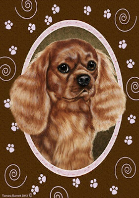Garden Indoor/Outdoor Paws Flag - Ruby Cavalier King Charles Spaniel 171181