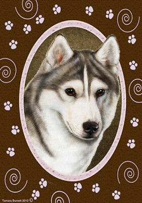Garden Indoor/Outdoor Paws Flag - Grey & White Siberian Husky 170181