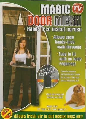 Magic Hands Free Magnetic Fly Door Mesh Curtain Insect Screen 83 x 39 Inch Black