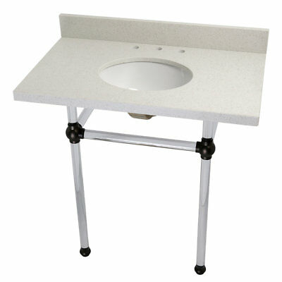 """Kingston Brass Templeton Ceramic 36"""" Console Bathroom Sink with Overflow"""