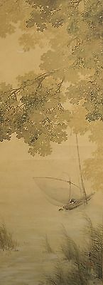#8217 Japanese Hanging  Scroll: Boat on the River