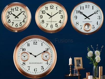 Copper Wall Clock Cream Or White Face Black Numbers Batons Hands Quartz Analogue