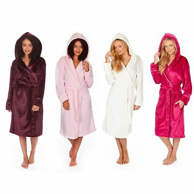 3a2513e241 LADIES WOMENS HOODED Fleece Bathrobe Dressing Gown Terry Towelling ...
