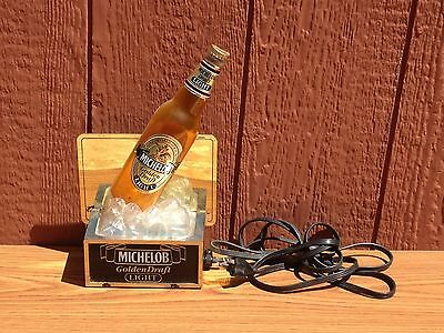 Vintage 1991 Michelob Golden Draft Light Bottle On Ice Lighted Sign Man Cave Bar