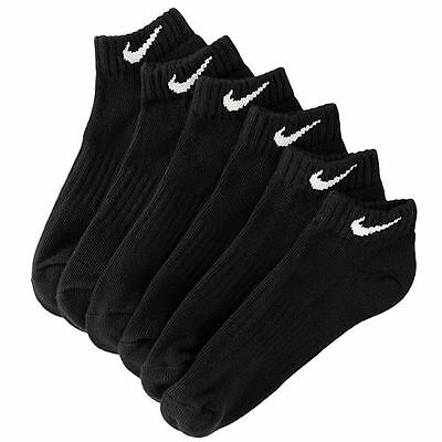 New Boys 8-20 Nike 6 Pack Performance Low Cut Socks Black/White Size 9-11